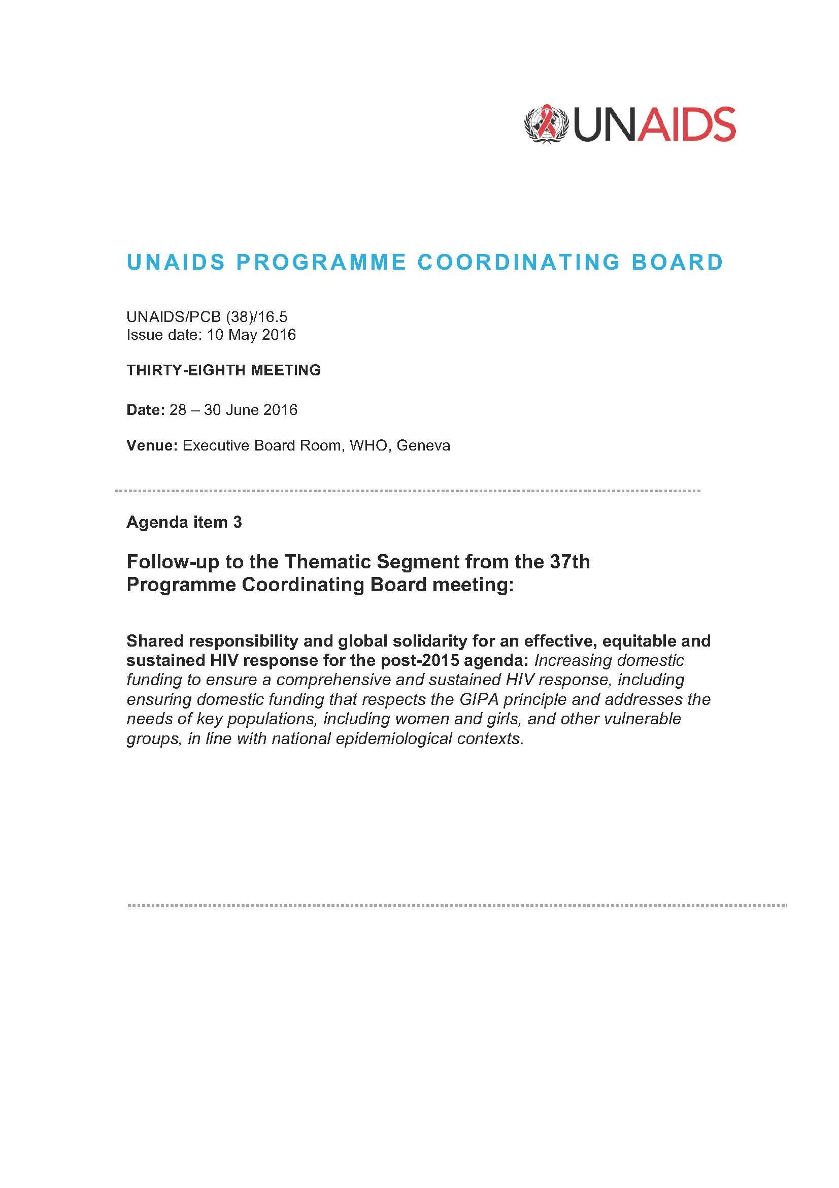 Agenda item 3 Follow-up to the Thematic Segment from the
