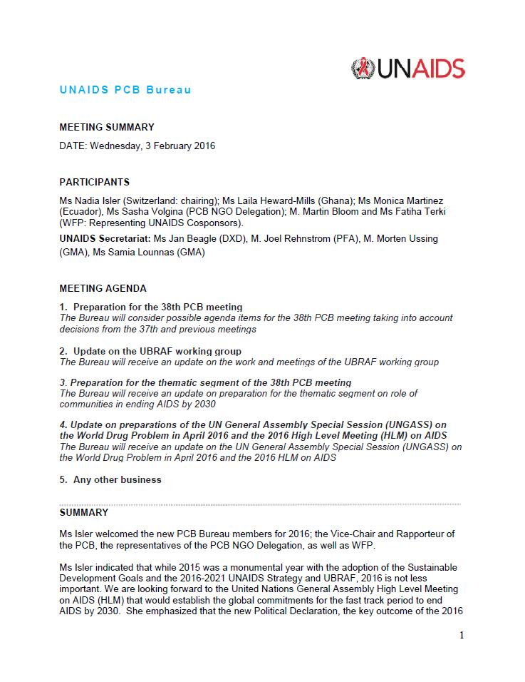Unaids Pcb Bureau 3 February 2016 Meeting Summary Unaids