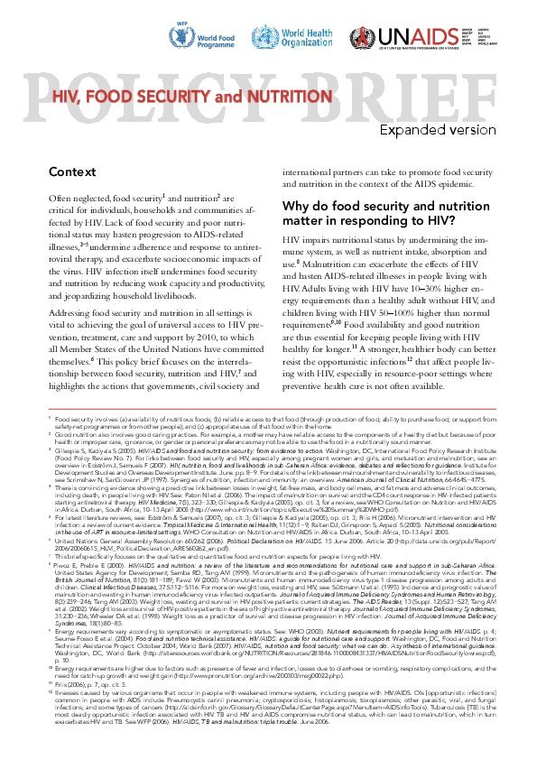 Policy Brief - HIV, food security and nutrition (expanded