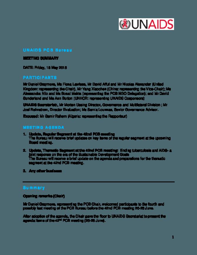 Unaids Programme Coordinating Board Unaids