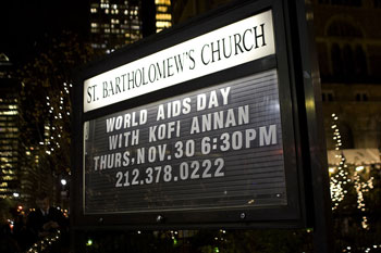 Sign outside New York's St. Bartholomew's church announcing the
